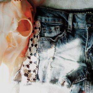 Pants - crochet detailed denim shorts ♡